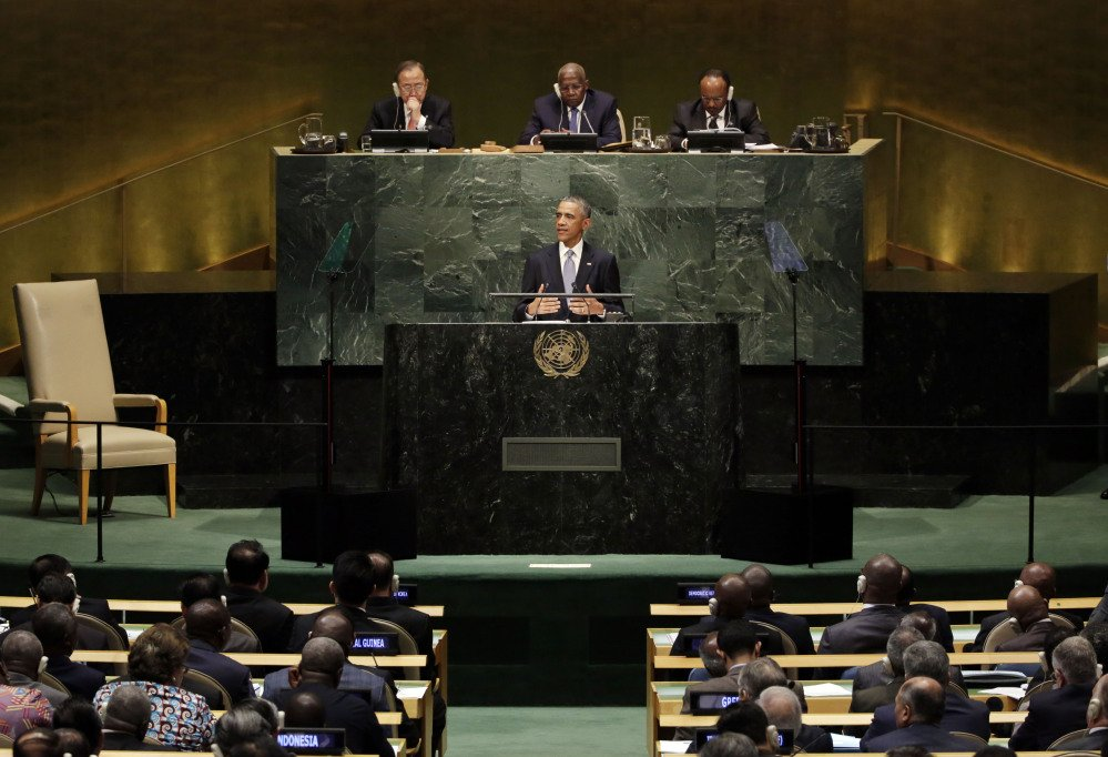 United States President Barack Obama addresses the 69th session of the United Nations General Assembly, Wednesday.