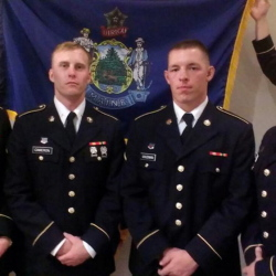 Four Maine soldiers have graduated from the Army's Advanced Individual Training on Sept. 19 at Fort Sam, Houston, in the 68w Combat Medic Unit.  From left are Private Dylan Day, 22, from New Gloucester, who will be going to National Guard 45th Infantry Brigade, Oklahoma; Private 2 Brandon Cameron, 23, from Litchfield, who was nominated for Airborne Ranger, and will be going to Fort Benning, Ga., for ranger training; E2 Matthew Coleman, 22, from Clifton, will be going to Fort Wainwright, Alaska; and Spc. Nathan Guindon, 21, from Brunswick, who will be going to 133rd HHC Maine Army National Guard.