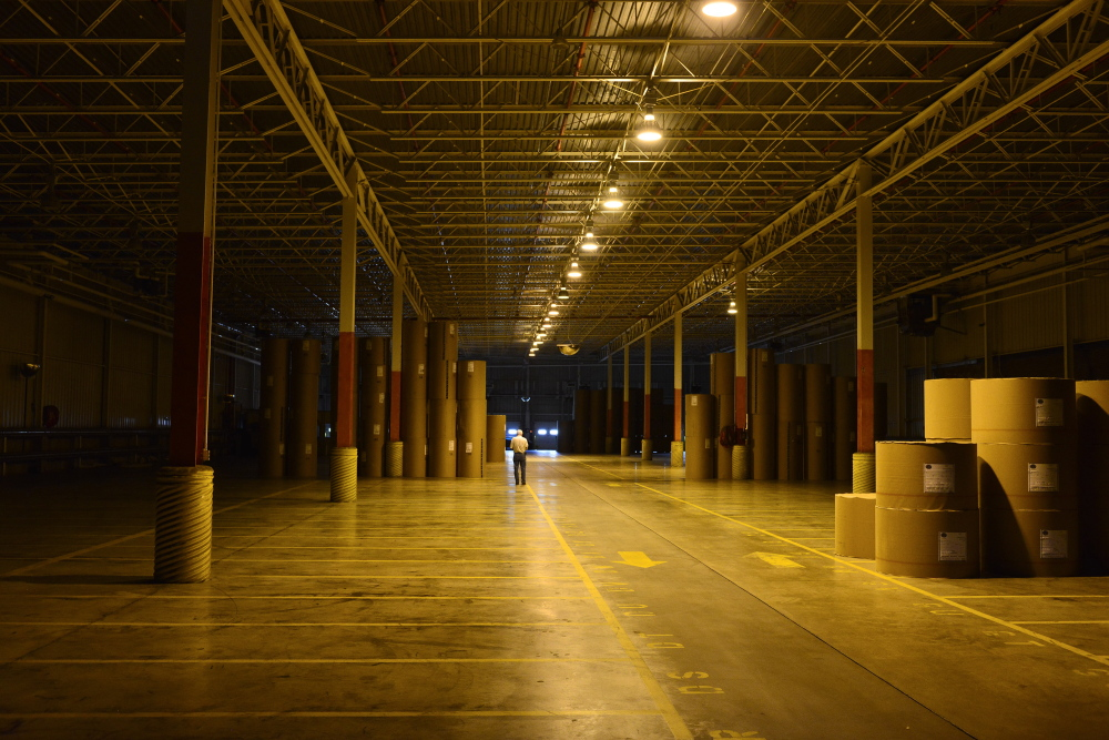 A storage facility sits empty in July at Great Northern's East Millinocket paper mill.