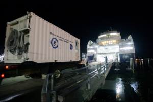 Bigelow Laboratory for Ocean Sciences' truck boards the Nova Star. Senior Research Scientist William Balch uses the Nova Star to study the distribution of phytoplankton in space and time.