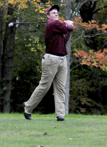 'Maine Central Institute golfer Gavin Dugas competes against Waterville at the J.W. Parks course in Pittsfield on Monday.