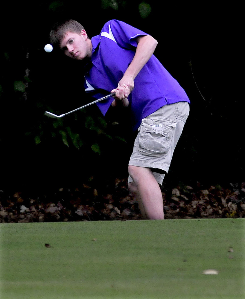 Waterville's C.J. Gaunce competes against Maine Central Institute at the J.W. Parks course in Pittsfield on Monday.