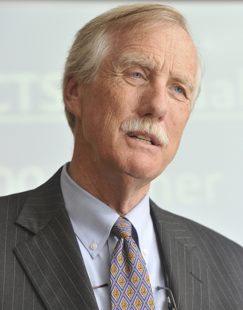 U.S. Sen. Angus King speaks earlier this year at a luncheon at the University of Southern Maine.