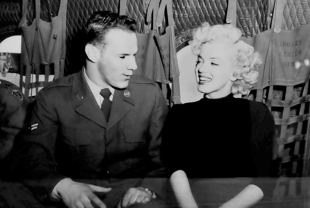 Galen Leavitt took this photo of himself with Marilyn Monroe during a Korean War USO show. It is on exhibit at the Oakland Library beginning Wednesday.