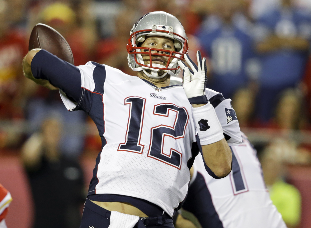New England Patriots quarterback Tom Brady throws during the first quarter Monday against the Kansas City Chiefs in Kansas City, Mo. The Patriots play the Cincinnati Bengals on Sunday night in Foxborough, Mass.