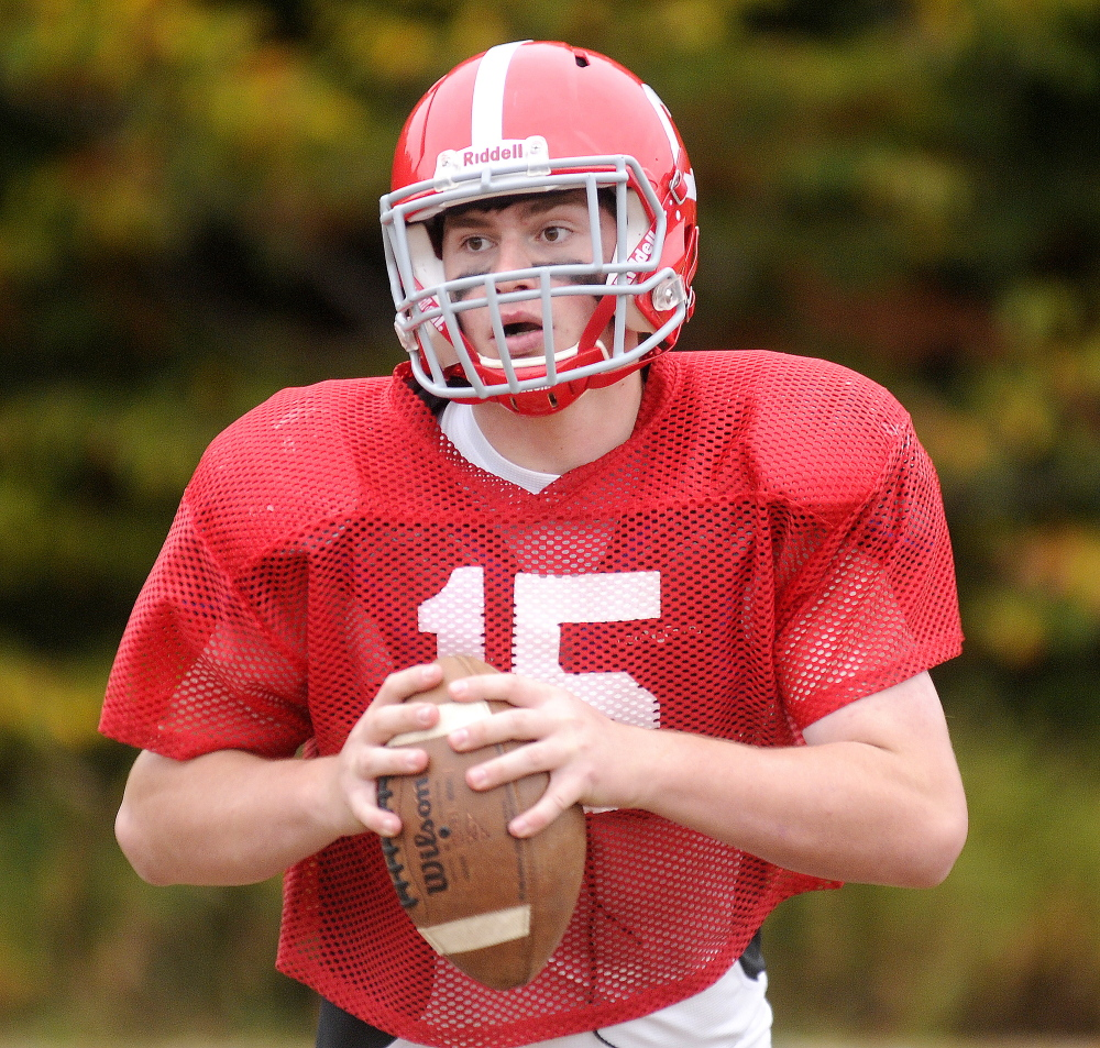 Cony High School quarterback Mitchell Caron is completing 63.5 percent of his passes (87-of-137) while throwing for 1,188 yards, 11 touchdowns and two interceptions — both of which came off deflections in Cony's 52-27 loss to undefeated Brunswick on Sept. 19.