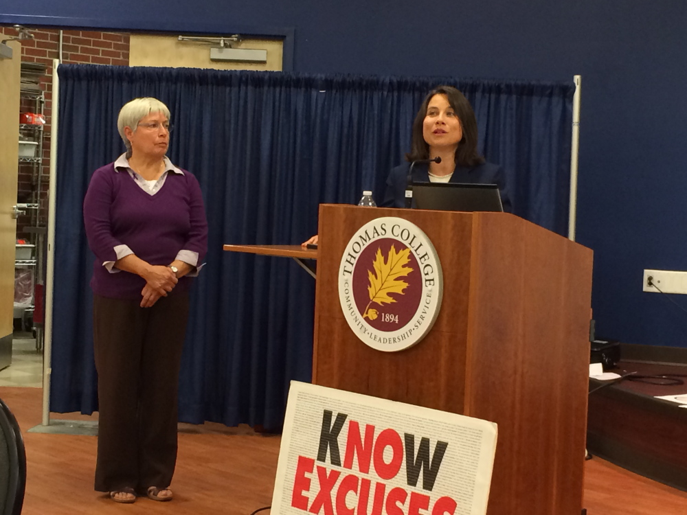 Plain Text:Meaghan Maloney, district attorney for Kennebec and Somerset counties, speaks on Wednesday about a new electronic tracking device that law enforcement will begin using in Somerset County this month to track domestic violence offenders. Maloney's talk occurred during a domestic violence forum hosted by the Family Violence Project in Waterville.