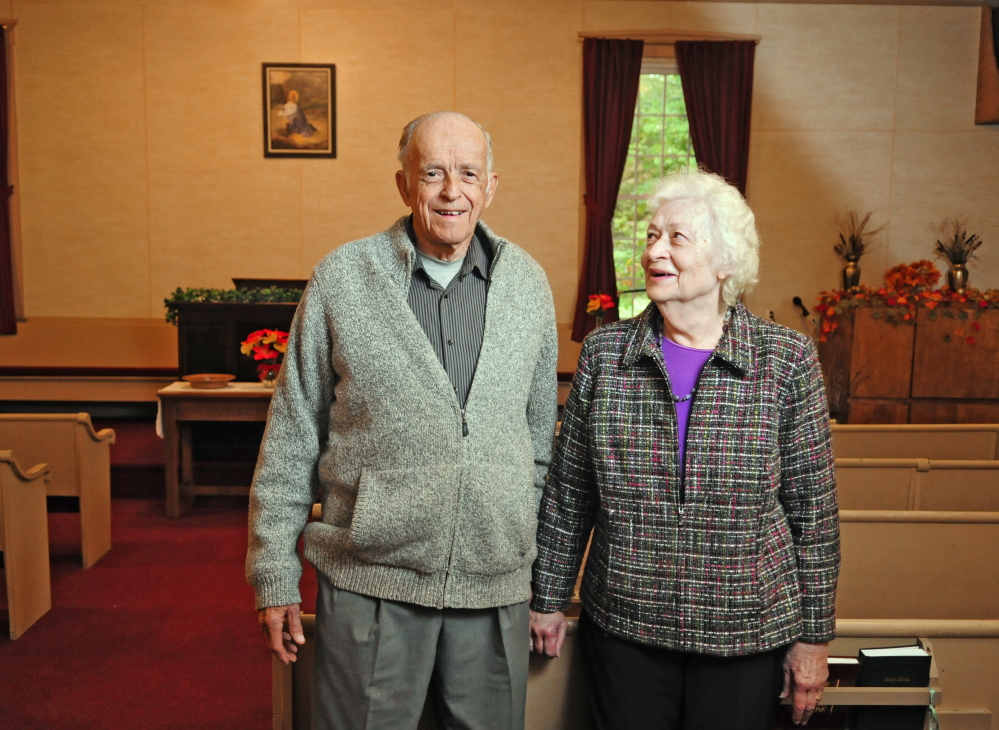 Ella and the Rev. Fred Benner stand inside Wayside Chapel on Wednesday in West Gardiner. The couple has been running the independent community church at corner of Neck and Collins Mills roads for 59 years.