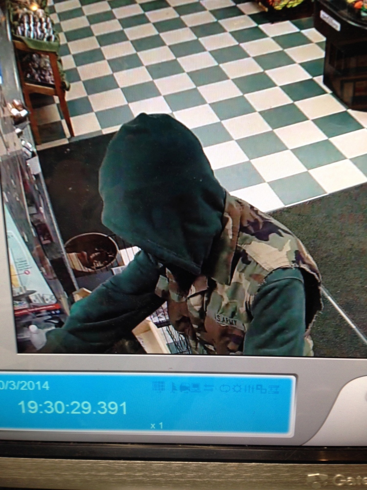 A knife-wielding man, seen here in serveillance video, attempted to rob the West Front Street Market in Skowhegan last night.