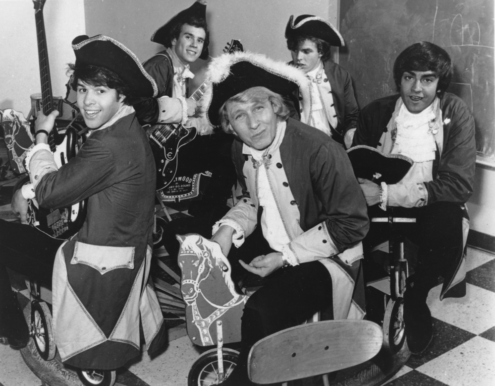 In a July 1967 photo, Paul Revere, front, and the Raiders are seen in character. Paul Revere, born Paul Revere Dick, the organist and leader of the Raiders rock band, died Saturday at his home in Idaho, says Revere's manager Roger Hart. He was 76.