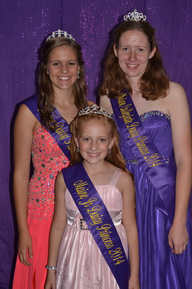 The 8th Annual Clinton Maine Dairy Princess Pageant winners in three divisions, Junior, Senior and Collegiate, were recently named. The Junior Division princess was Alizabeth Dumont, in front, from Albion sponsored by Island View Farm. The Senior Division princess was Kaicey Conant, left, from Canton sponsored by Conant Acres Farm. The Collegiate Division princess was Leah Caverly, right, from Clinton sponsored by Deer Hill Farm, Caverly Farms LLC and Cargill feed and Nutrition.