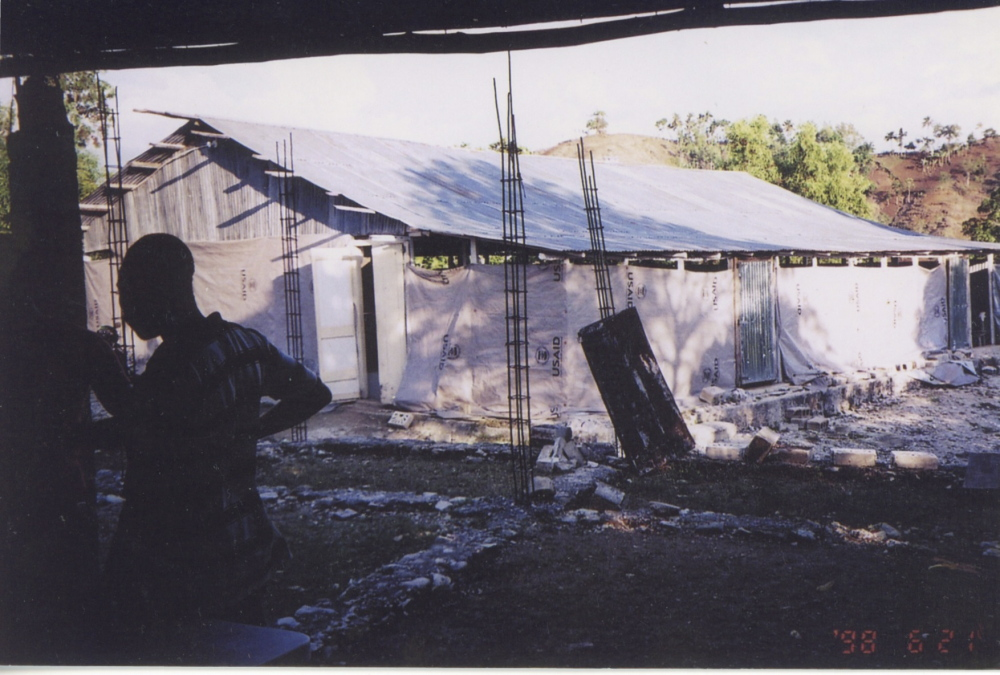 The makeshift chapel in Haiti that replaced the one that was destroyed by a major earthquake in January 2010.