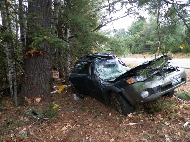 Morning Sentinel newspaper carrier Tom Poulin, 48, died in this car accident in New Salem at about 6:30 a.m. Wednesday. Contributed photo.