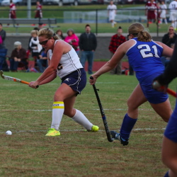 Contributed photo   Taylor Hollingdale, left, is a big reason why the the Mt. Blue field hockey team enters the Eastern A playoffs with high expectations.