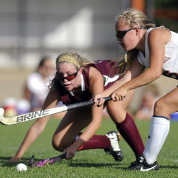 Gardiner's Emily Malinowski, right, drives past Nokomis' Shannon Kasprzak during a field hockey game earlier this season in Gardiner. The Tigers won 3-0. Gardiner earned the top seed in Eastern Class B and will host Erskine at 3 p.m., Wednesday in a quarterfinal game.