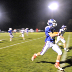 Messalonskee High School's Colby Dexter races for a touchdown in the first quarter of a Pine Tree Conference Class B game Friday night in Oakland.