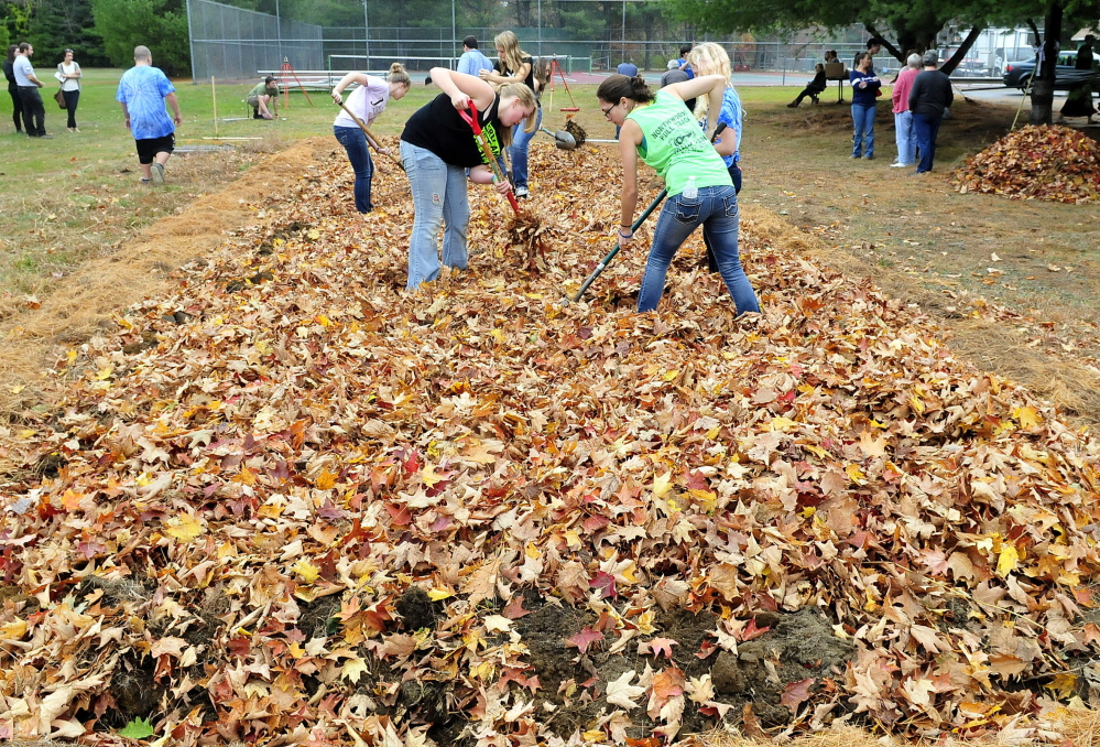 Carrabec High School students work leaves into a school garden plot for mulch. They gathered the leaves earlier as part of a community service project on Wednesday.