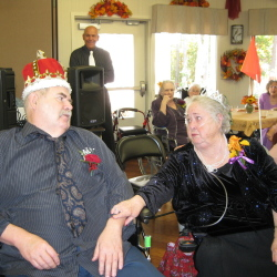 Robert Fletcher, left, and Beverly Durrell after Cedar Ridge Center's annual Harvest Ball crowning event.