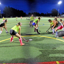 The Winslow High School field hockey team practices on the artificial turf last week at Thomas College in Waterville. More and more teams are looking to practice or play games on turf .