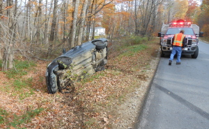 A woman suffered minor injuries Monday during a crash on Huntington Hill Road in Litchfield.