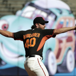 San Francisco Giants starting pitcher Madison Bumgarner throws during a team workout Saturday in San Francisco. The Giants are scheduled to play the Kansas City Royals on Tuesday in Game 1 of the World Series in Kansas City, Mo.