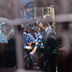 Oscar Pistorius, is led to an awaiting police vehicle to be take to prison outside the court in Pretoria, South Africa, Tuesday.