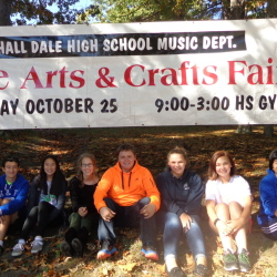 The Hall-Dale High School Music Council will hold their sixth annual Fine Arts and Craft Fair from 9 a.m. to 3 p.m. Saturday, Oct. 25, in the high school and middle school gyms. There will be more than 70 booths of Maine-made crafts in 16 categories of art, including woodworking, bath and body, jewelry, photography, fiber arts and painting. Admission is free. There will be a free craft room for children while parents shop and raffles every half hour. The fair will benefit the music student's trip to the Great East Festival in May, 2015. From left are music council members Asia Dibennedetti, Micah Thomas, Rose Warren, Annie Wilson, President David Morris, Julia Stahlnecker, Cassie Dibennedetti and Maya Freed-Barlow.