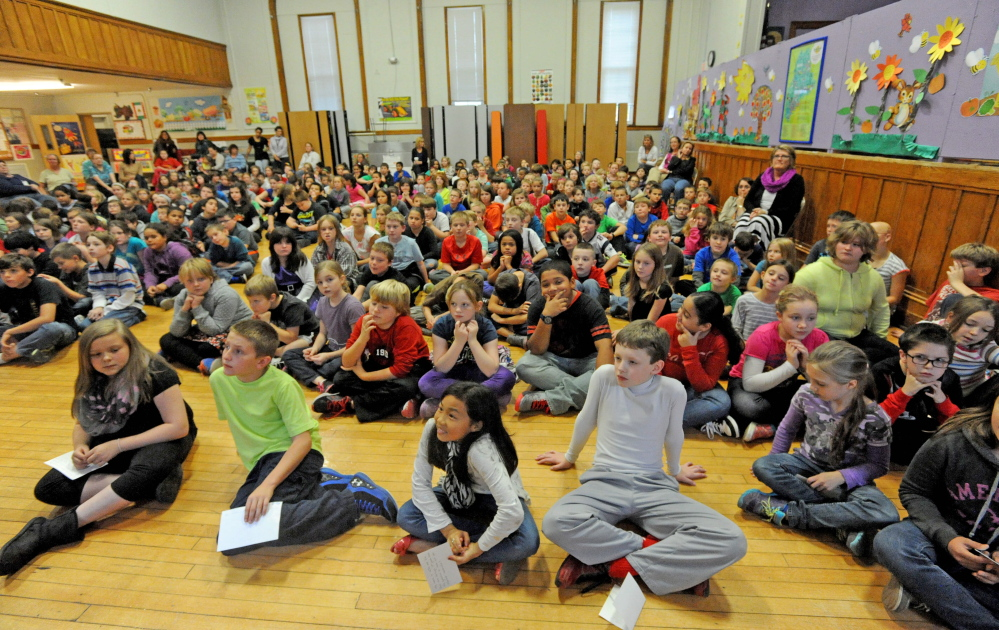 Students at Albert S. Hall Elementary School in Waterville gathered to ask questions of mayoral candidates Karen Rancourt-Thomas, Steve Aucoin, and Nick Isgro.