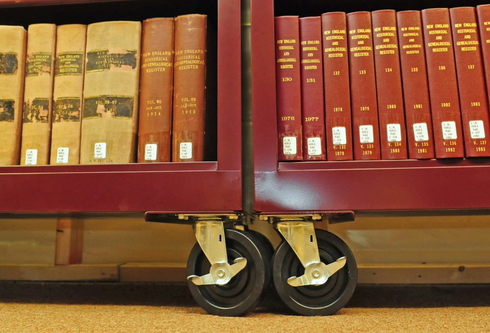 Gardiner Public Library special collections librarian Dawn Thistle said that most of the archival collections in the basement are stored on metal carts with wheels in case they have to be removed from the basement because of flooding.