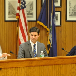 Democrat Steve Aucoin makes a point while Republican Nick Isgro and Councilor Karen Rancourt-Thomas, D-Ward 7, listen during the Oct. 17 debate between Waterville's three mayoral candidates. The three face off again Thursday night at Thomas College.