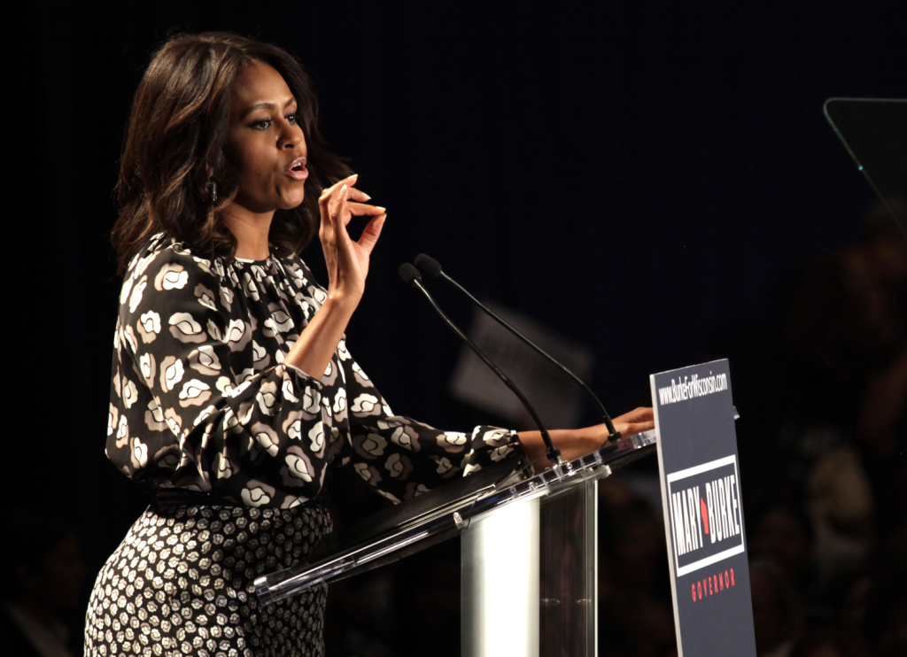 First lady Michelle Obama, shown in Wisconsin on Monday, travels to Maine on Friday to rally for gubernatorial candidate Mike Michaud in Orono. The Associated Press