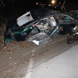 One man died and two others were hurt in this crash on Plains Road in Readfield on Wednesday evening.
