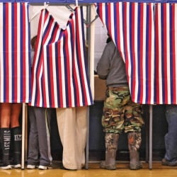 CAP.cutline_standalone:Voting booths were all full and a line extended out the gymnasium door Tuesday at Hall-Dale Middle School in Farmingdale.
