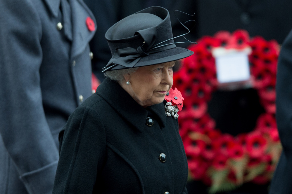 Britain's Queen Elizabeth II arrives during the service of remembrance at the Cenotaph in Whitehall, London, on Sunday.