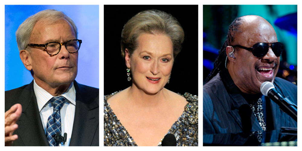 """In this combination of Associated Press file photos, Tom Brokaw, left, speaks at the Pennsylvania Chamber of Business and Industry annual dinner Monday in Hershey, Pa., Meryl Streep, center, appears at the Oscars at the Dolby Theatre  in Los Angeles, on a Feb. 24, 2013, and Stevie Wonder performs during the """"In Performance at the White House"""" in the East Room of the White House in Washington on May 9, 2012."""