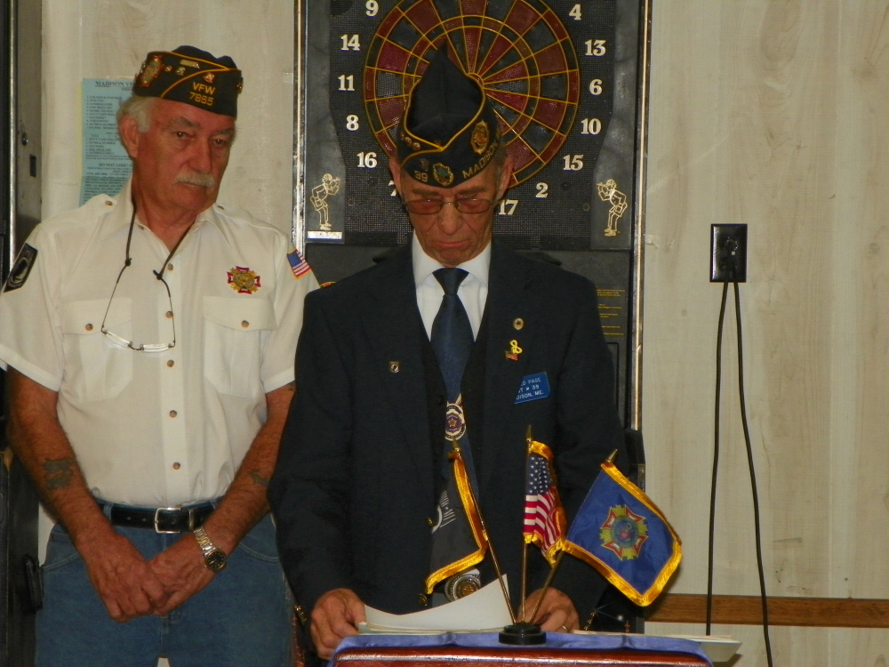 Contributed photo VFW Post 7865 in Madison hosted a Veterans Day celebration Tuesday, followed by a ham dinner for all veterans, members and guests. Louis Padula, Commander of Madison VFW Post 7865, right, with Ron Page, Historian of Madison Legion Post 39. Page was invited to the VFW ceremony to read a Veterans Day speech to the veterans, members and guests.