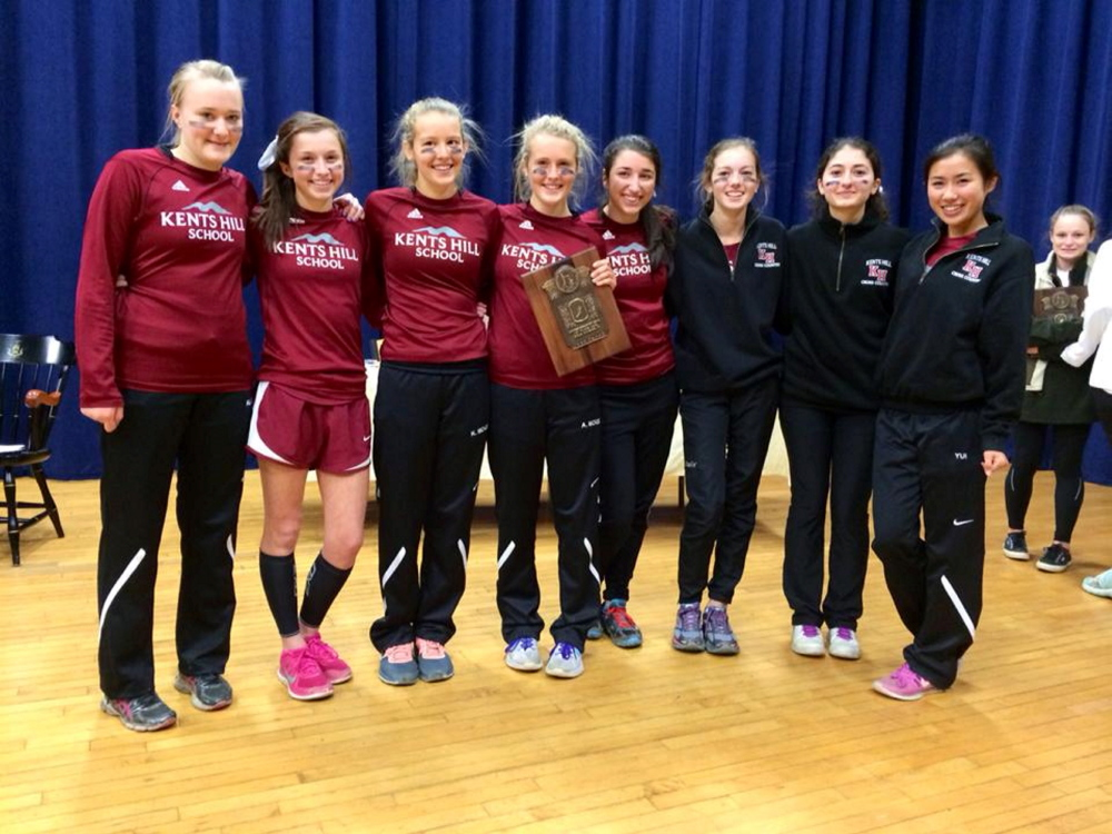 Contributed photo   The Kents Hill girls cross country team enjoyed a history-making season by winning the New England Prep School Track Association Division 4 championship. Team members, from left, are: Alice Frisk, Leila Alfaro, Kate McKee, Anne McKee, Aimee Sala, Isabel Charland, Zeynep Kartal and Yui Miyamoto.