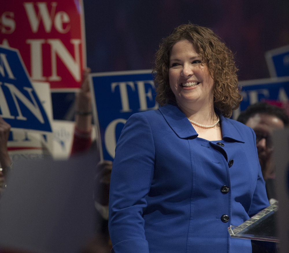 Emily Cain speaks at the Democratic State Convention in Bangor in this May file photo.