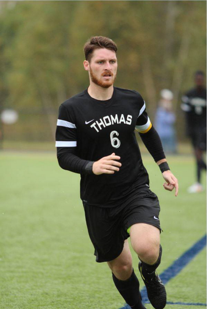 Contributed photo   Thomas College senior captain Dakota Duplissie enjoyed a standout season this fall. Duplissie, a Maranacook graduate, scored 17 goals to earn North Atlantic Conference Player of the Year honors.