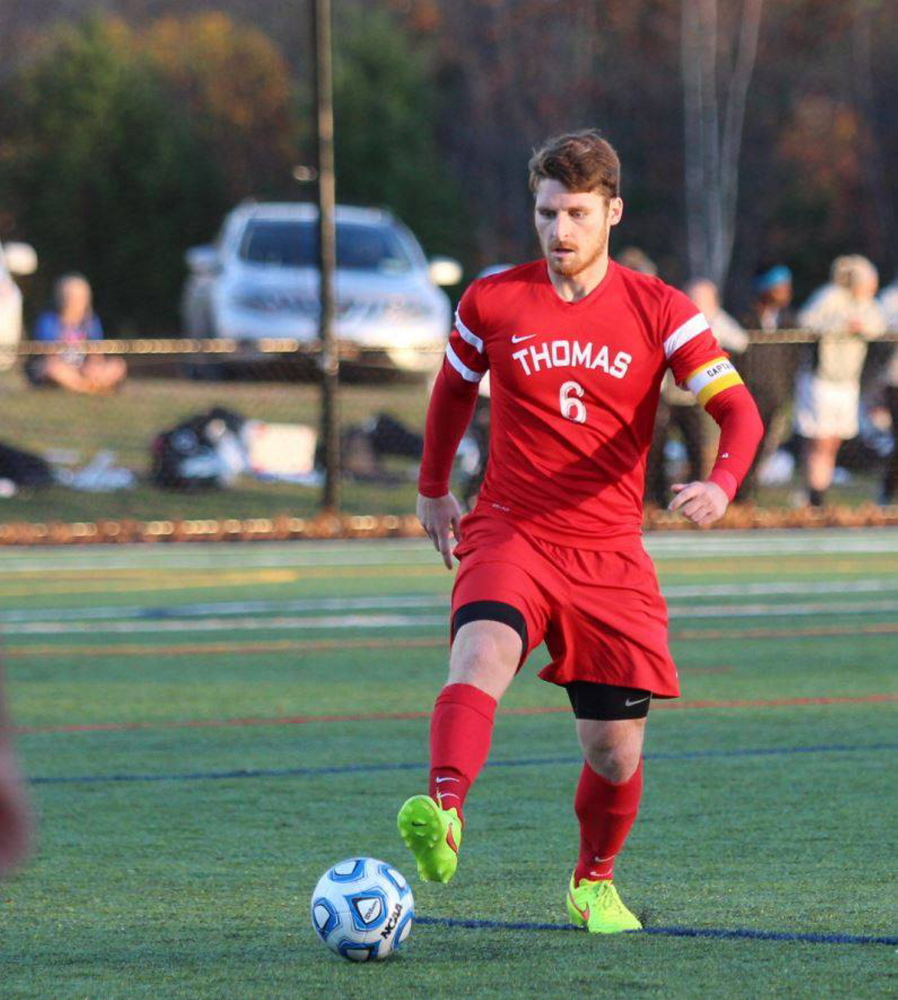 Contributed photo   Dakota Duplissie enjoyed a standout season for the Thomas College men's soccer team. A senior captain, Duplissie scored 17 goals, which led the North Atlantic Conference.The Maranacook grad also had five assists and earned NAC Player of the Year honors.