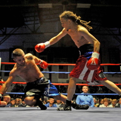 Freddy Sanchez of Worcester, Mass., knocks down  Brandon Berry in the second round at the Portland Expo on Saturday, Nov. 16, 2014. Sanchez defeated Berry by TKO  in the third round.