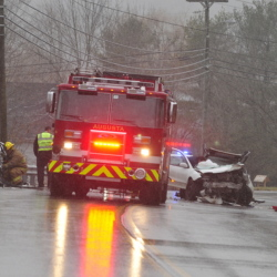 A serious accident on Eastern Avenue in Augusta injured two people and closed the road Tuesday morning.
