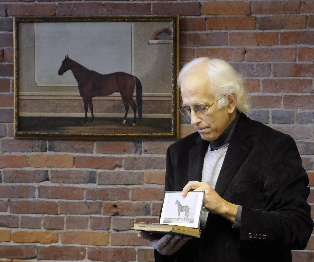 Stephen Thompson said Wednesday that he wanted to buy the George H. Bailey painting that was used as a front plate for a 19th century book about horses to preserve a piece of Maine's equine history. The 1873 painting by Bailey, depicting a horse named King William, was turned over to Thompson's non-profit group at a ceremony in Augusta.