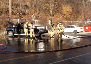 Augusta firefighters put out a blaze that began in the bed of a pickup and spread to the entire vehicle. The truck, owned by Roger Lord of Hallowell, was destroyed in the Thursday morning fire on Commercial Street in Augusta, according to Augusta Fire Department Battalion Chief Jason Farris.