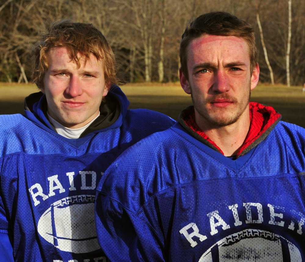 Oak Hill football players Brendon Tervo, left, and Kyle Tervo will try to help the Raiders win the Class D state championship Saturday in Portland. Oak Hill plays Maine Central Institute at 2:36 p.m.
