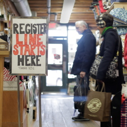 Shoppers browse on Black Friday in 2013 at LeRoux Kitchen on Commercial Street in Portland.