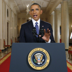 President Barack Obama announces executive actions on immigration during a nationally televised address from the White House in Washington on Thursday. His plan to relax U.S. immigration policy would affect as many as 5 million people. (AP photo)