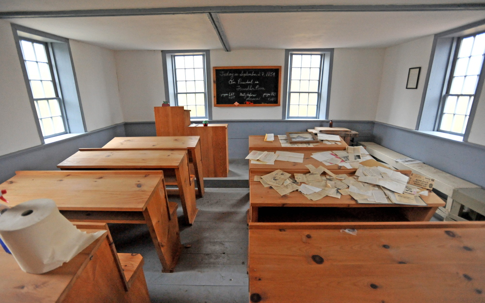 The inside of the Winslow school house. The now defunct Winslow Historical Society once owned the schoolhouse, which an architect has dated between 1800 to 1810.