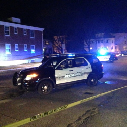 Yoon S. Byun/Staff Photographer Portland Police were on the scene late Friday responding to a fatal shooting at 214 Brighton Ave.