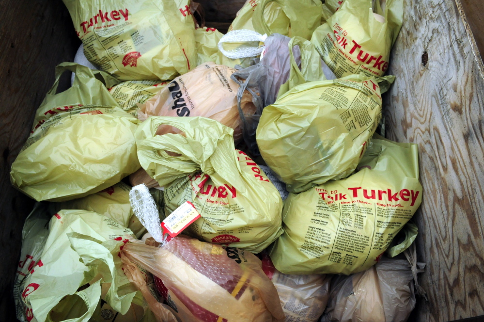 Volunteers had collected more than 30 turkeys by 11:15 a.m. Saturday on Water Street in Gardiner. The turkeys were being collected for the Chrysalis Place food bank to use in Christmas baskets.